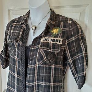 Julie & Jules Army Patch Button Front Shirt